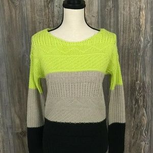 Willow & Clay Women's XS Green Black Crew Sweater